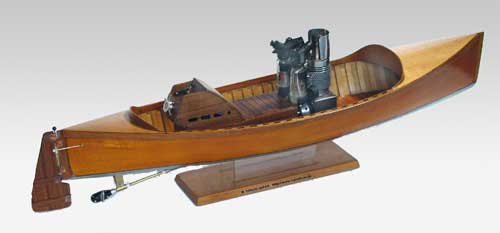 rear view of wooden stirling engine boat